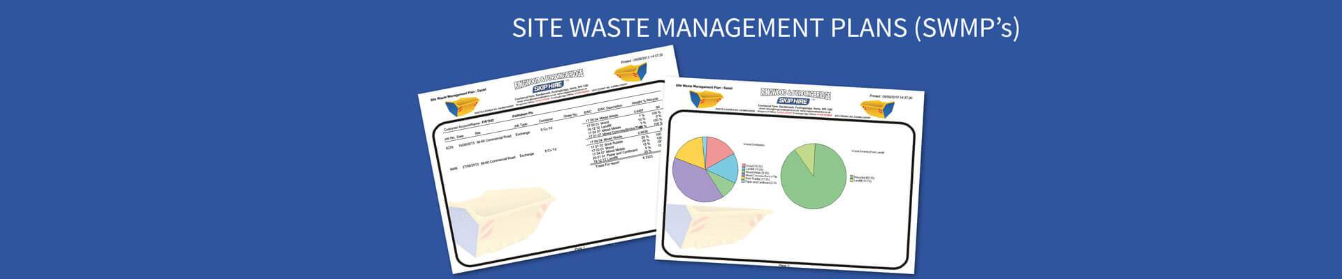 site waste management plan By law, construction projects with a budget of over £300,000 must have a site waste management plan (swmp) in order to detail how the project plans to manage and maintain construction materials in the interest of minimising waste.